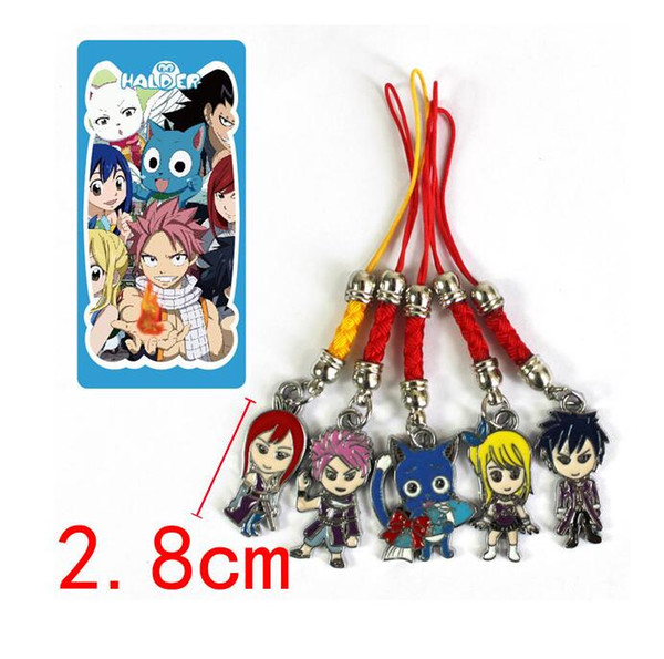 New Design!5 Set Anime FAIRY TAIL Keychains Natsu Happy Lucy Metal Pendants & Phone Straps 3style Can Choose Free Shipping