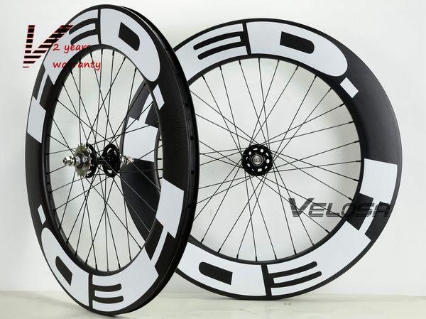 Velosa super sprint 80 700C track bike carbon wheelset,88mm clincher/tubular,fixed gear street bike carbon wheel