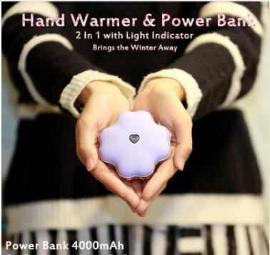 Novelty Clover Shape Adjustable USB Hand Warmer Portable Mini 4000mAh USB External Battery Charger Power Bank for Cell Phones Fast Shipping