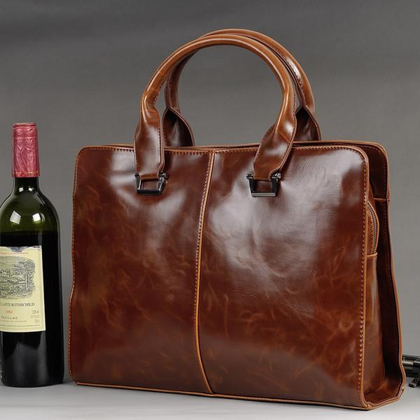 Wholesale- Men Vintage Business PU Leather Briefcase Travel Causal Messenger Shoulder Portfolio Laptop Bags Lawer Handbag Bolsa