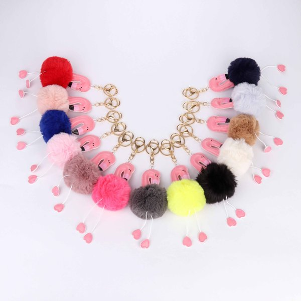 Hot Flamingo Keychain Pu Leather Birds Key Chain Pompom Fur Key rings Holder Cover Women Bag Charm Pendant Accessories Chaveiro