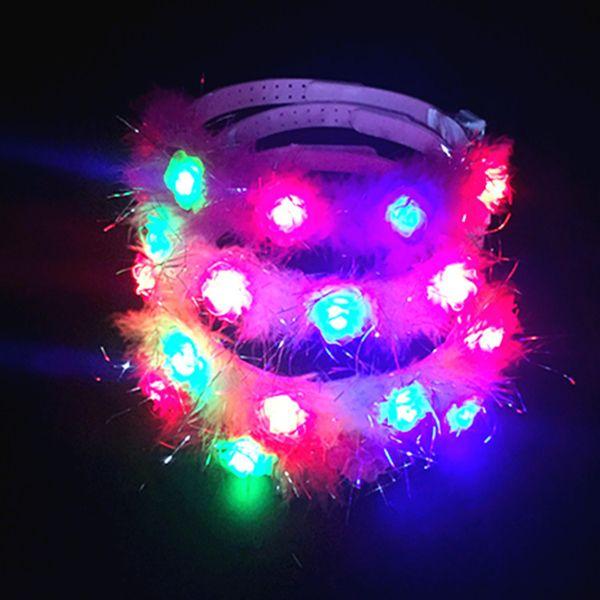 Luz grinalda cocar cocar flor noiva luz colorida brinquedos headband photo booth atacado hot spots
