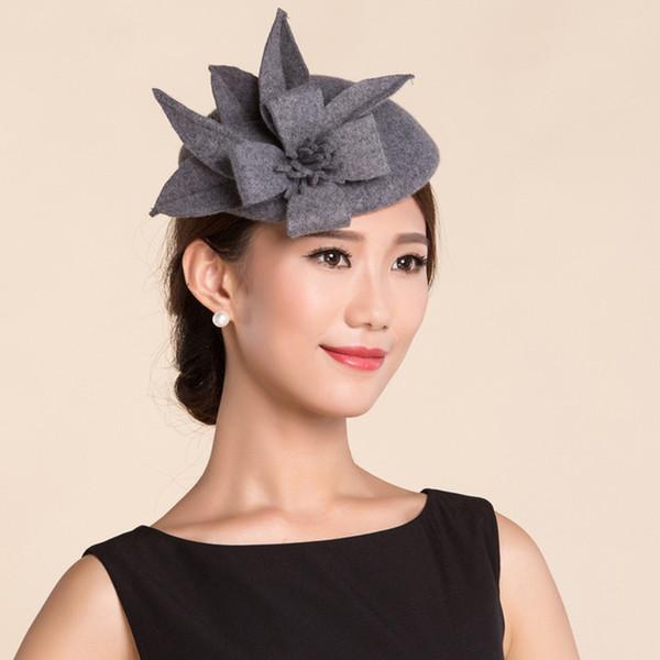 Atacado-Vintage Lady Mulheres feltro de lã preta Pillbox Fascinator festa de casamento Hat com arco cinza