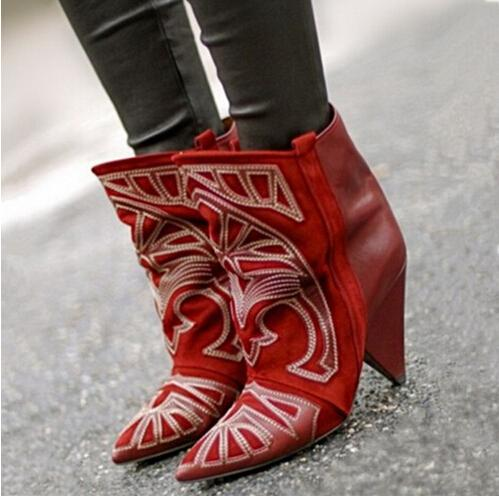 Hot Fashion Berry Embroidered Lady Spike Heels Botas Mujer Invierno Red Suede Slip On Ankle Boots Shoe Cowboy Short Boots Women