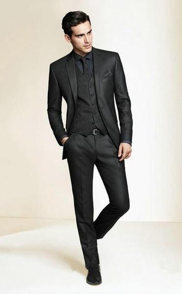 Wholesale- Hot Sale Bespoke Men Suits Classic Slim Fit Black Wedding Dress Groom Tuxedos Prom Suits 3 Piece Men Wedding Suits