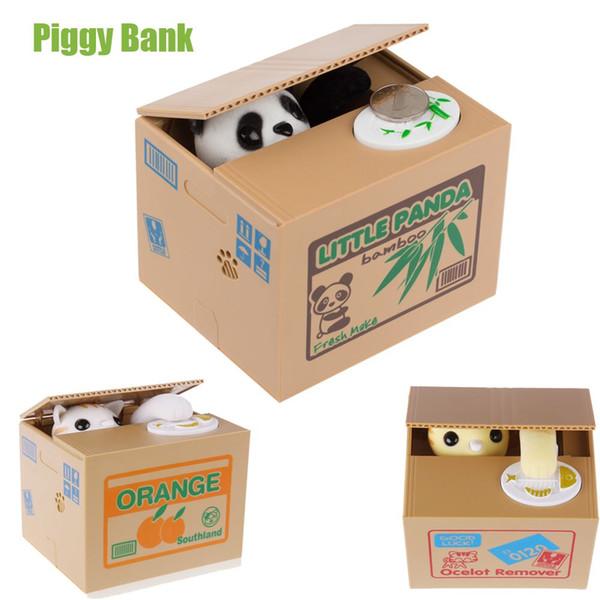 Blanc / Jaune Chat Panda Automatique Volant Coin Chat Kitty Pièces Penny Cents Tirelire Boîte D'argent Tirelire Enfant Enfant Cadeau