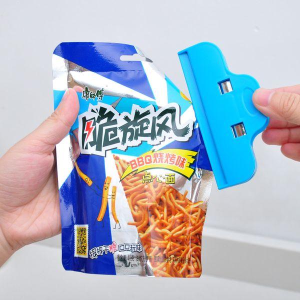 Colorido plástico fuerte clip de sellado bolsa de comida snack clip de sellado multipropósito grande a prueba de humedad fresca manteniendo la abrazadera de sellado