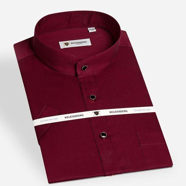 Wholesale- Summer 2016 Men's Banded Collar(mandarin Collar) Dress Shirt 100% Cotton Non-Iron Solid Color Lightweight Slim-fit Formal Shirts