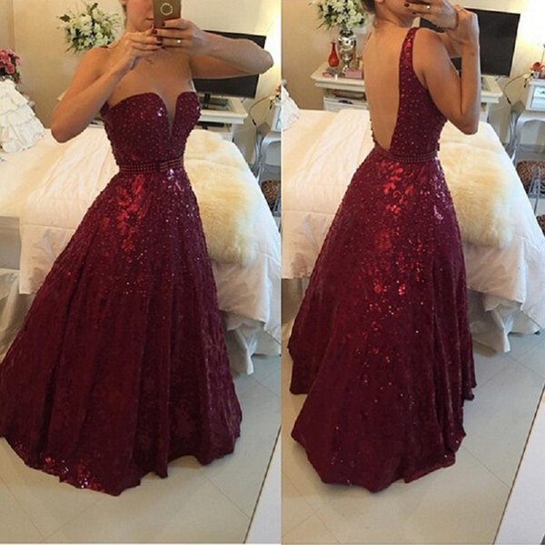2018 Burgundy Prom Dress Backless A-line Lace Deep V-neck Beaded Elegant Special Occasion Party Gowns For Women Gothic Made In China