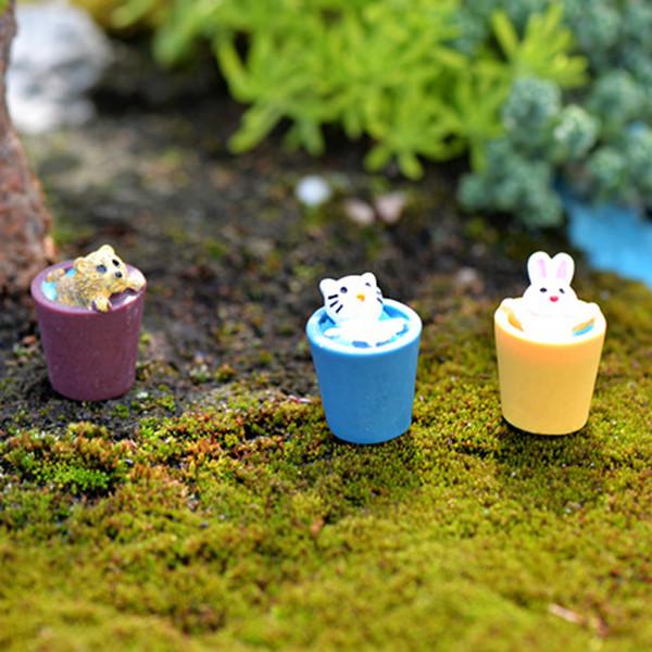 6pcs Home Decor Accessories Zakka Bucket Animal Figurines Fairy Garden Miniatures Succulent Pot Bonsai Tools terrarium Resin Crafts Jardin