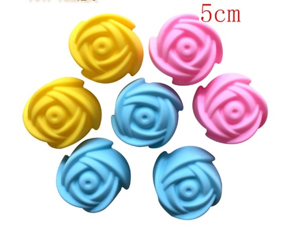 500pcs/lot Fast shipping 5cm Rose Flower Cake Mold Pudding Grade Silicone Cake Mold Cupcake Mold Baking Mould Bakeware