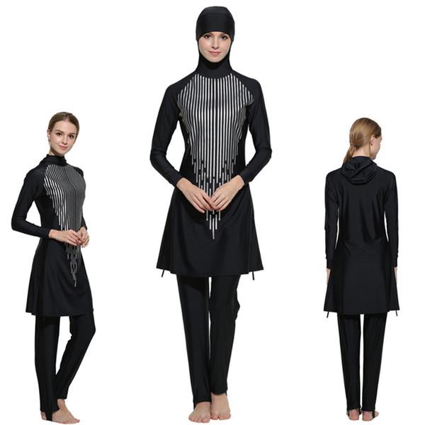 Plus size S-4XL Islamic Swimwear Women Modest Full Cover Muslim Islamic Hijab Swimsuit Swimwear Burkini for Muslim Girls Women