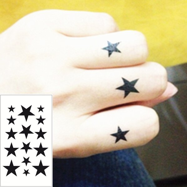 5dc5ae4d2 Wholesale-Black Star Flash Tattoo Hand Sticker 10.5*6cm Small Waterproof  Henna Beauty Temporary