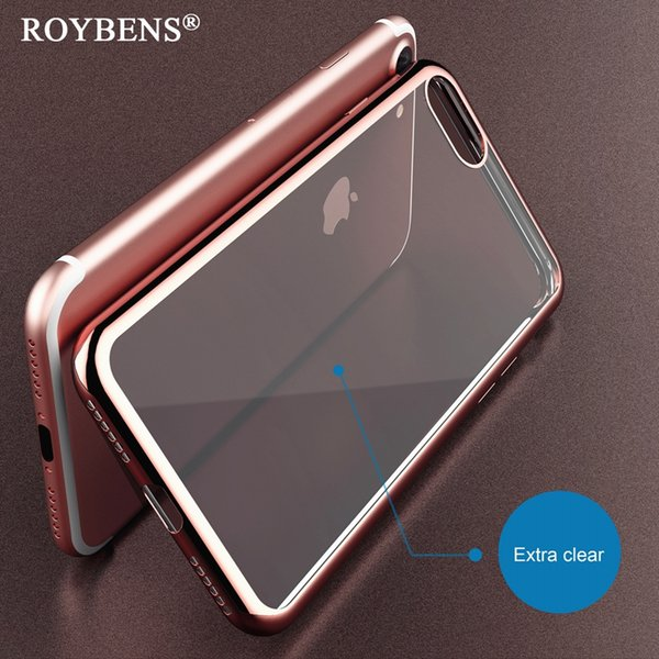 Roybens For iPhone 7 Clear Case Luxury Plating Silicone Cover For iPhone 7 / Plus Glitter Gilded TPU Frame Transparent Back Bag