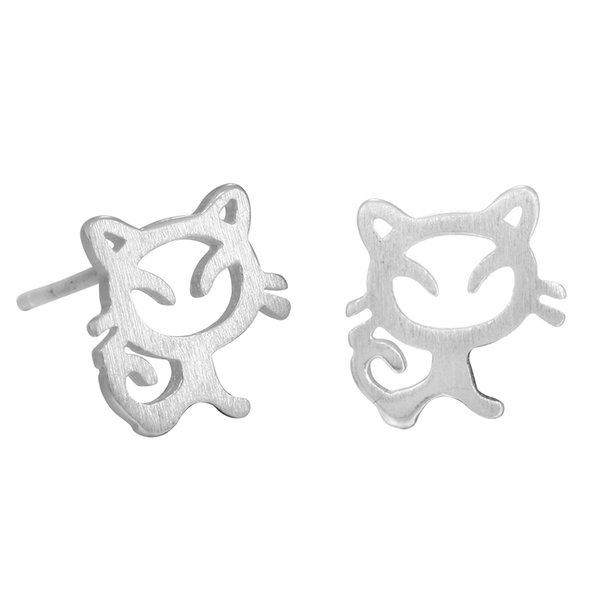5 pairs/lot Real 925 Sterling Silver Cute Cat Earrings for Women Girl Lovely Kitty Tud Earrings Hypoallergenic Statement Jewelry
