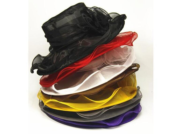 womens Organza Hat Kentucky Derby Wedding Church Party Floral Hat wide brim sun summer hats for women 9 colors 12pcs Free Shipping