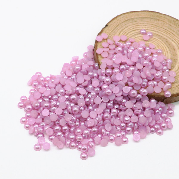 Flatback Half Pearl Beads Lt.purple Color Flat Back Round bead in size 4mm 6mm 8mm 10mm