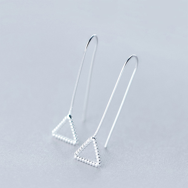 5 pairs/lot Hot !925 Sterling Silver Triangle Geometric Pendant Dangle Hook Wire Threader Earrings for Women Girls Charm boucle d'oreille