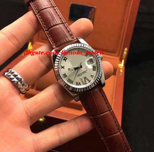 Новая мода Браслет из нержавеющей стали 68273 36 мм средний размер 18k YG / SS Белый римские цифры циферблат часы