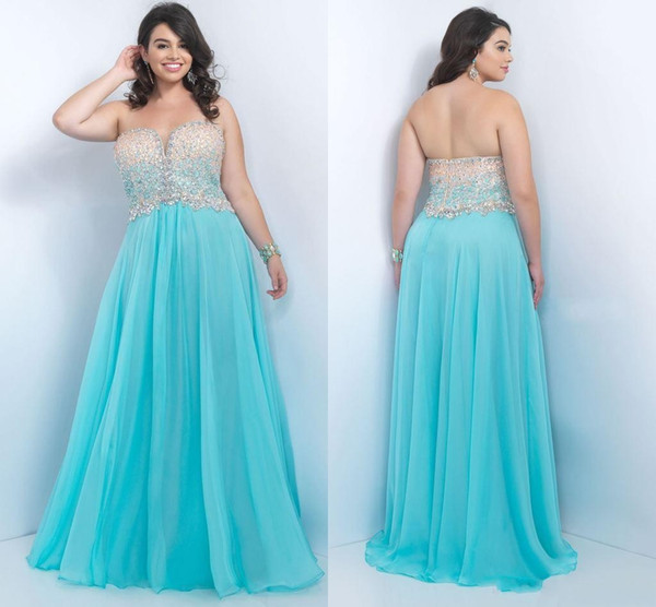 Plus Size Prom Dresses 2017 Crystas Elegant Beading Sequin Gown Bling Shiny Dress Cheap Floor Length Custom Made Evening Gown PLUS SIZE