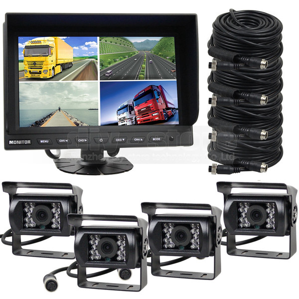 9Inch Split QUAD Rear View Monitor Car Monitor + 4 x CCD IR Night Vision Waterproof Car Camera Video Security Monitoring System