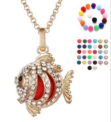 Chimes Harmony Ball Angel ball in Pendants fish Chime Harmony Balls Pendant 2 Colors Brass Metal Pregnancy Chain Necklaces