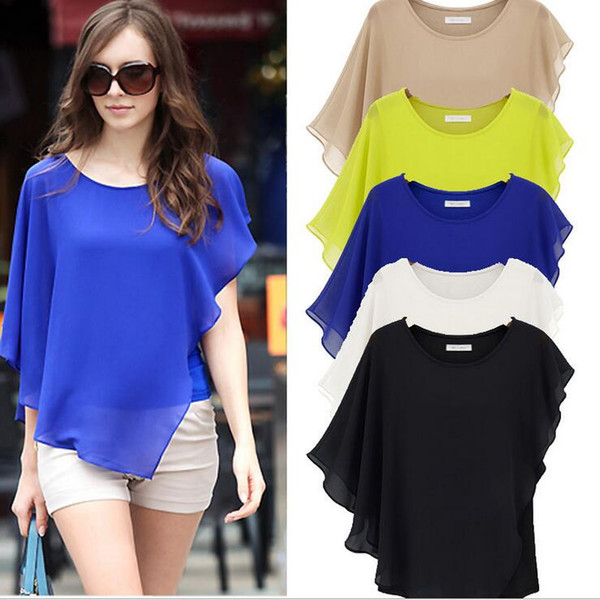 best selling Summer Europe Style Dresses Woman lady Blouses Bat Sleeves T Shirt Round Neck Chiffon Tops Sexy Elegant sizeS-XL Blue Yellow Khaki