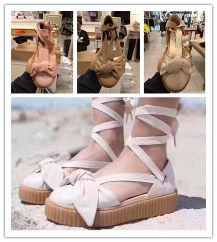 best sneakers a43f1 cf7b6 Luxury Rihanna Fenty Bow Creeper Sandal For Womens Slippers Riband Size 36  40 Women'S Shoes Outdoor Sandals Fenty Real Leather Cute Shoes Leather ...