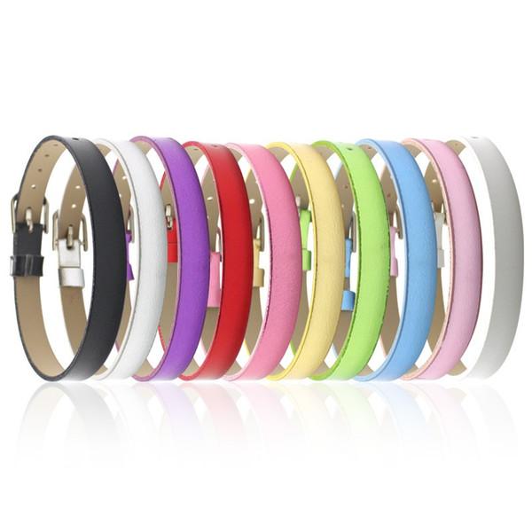 8MM PU Leather Metal Wristband watch band like Bracelets DIY Accessory Fit Slide Letter & noosa snap button bracelet