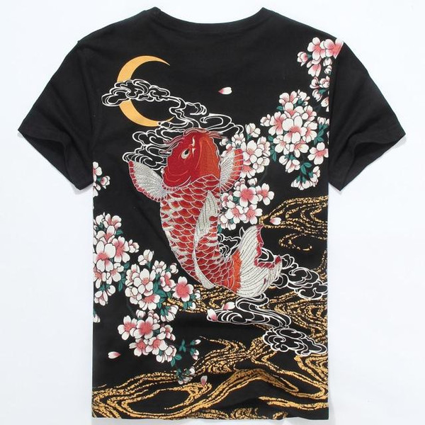 Wholesale- Japanese Tide Brand Clothing 2016 Men Fashion Carp Tattoo Print T-Shirt 100% Cotton Short Sleeve Summer T Shirt For Men 3XL Tees