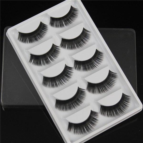 False Eyelashes 5 pairs of fan-shaped long Thick Crisscross Black eye hair Smokey Makeup Eye Lashes W34