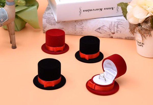 10Pcs/Lot Formal hat Velvet Jewelry Ring/ Earring Gift Packaging Display Box For Wedding Jewelry Boxes 2017