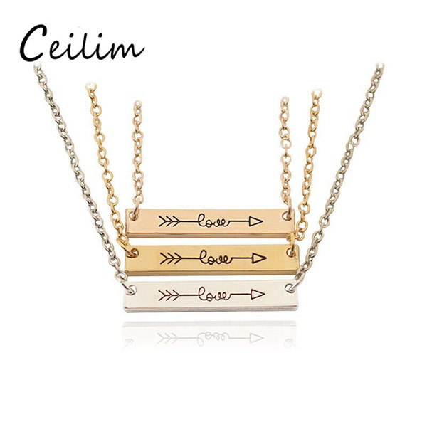 "3 Colors Fashion Necklace Jewelry ""LOVE"" Letter Minimalist Gold & Rose Gold Color Bar Necklace Simply Horizontal Love Arrow For Women Daily"