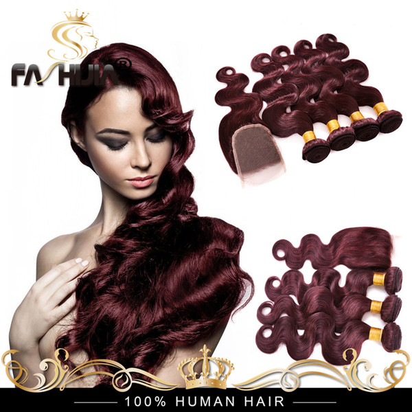 Brazilian Virgin Hair Burgundy Weave Body Wave 99j Brazilian Hair Red Wine Human Hair 4 Bundles Purple Weave With 4x4 Closure