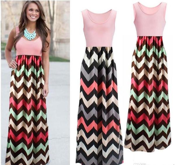 best selling Long Dress Women Sleeveless Halter Waves Striped Dresses Beach Party Maxi Dress Patchwork High Waist Dress
