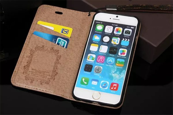 For iPhone X XS Max XR 8 7 6 6s Plus Fashion Luxury Grid Leather Wallet Flip Case for Galaxy S8 S9 S9plus Note 9 TPU Cover Case High Quality