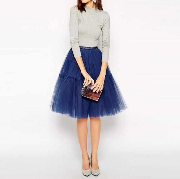 precios baratass nuevo estilo grandes ofertas Compre Elegante Royal Blue Puffy Rodilla Longitud Tutu Faldas Para Mujeres  Para Fiesta Plisado Elegante Falda Estilo Elástico Por Encargo A $42.97 Del  ...