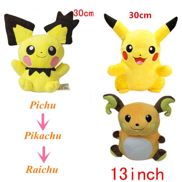Toptan-30-30-32 cm Büyük Boy Cep Canavar GO Peluş Oyuncak Pichu Pikachu Raichu Dolması Peluş MoviesTV Kaliteli Pamuk Pikachu Peluş Oyuncaklar