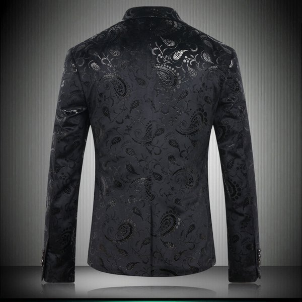 Großhandel Schwarz Blazer Männer Paisley Blumenmuster Hochzeit Anzug Jacke Slim Fit Stilvolle Kostüme Bühnenbekleidung Für Sänger Herren Blazer # 8633