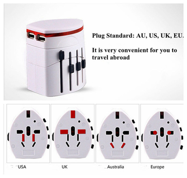best selling Convinien All in One Universal International Plug Adapter 2 USB Port World Travel AC Power Charger Adaptor with AU US UK EU Plug