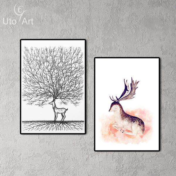 Animals Cute Deer Elk Canvas Painting Modern Abstract Oil Print Art For Living Room Canvas Wall Picture Home Decor