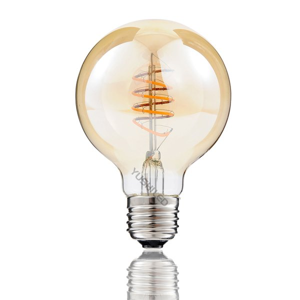 Vintage G80 G25 Edison Led Bulb E26 4w 110v Dimmable 2200k Warm Yellow Spiral Curled Filament Led Bulb Retro Decorate Shop Bar Home Hotel Best Led