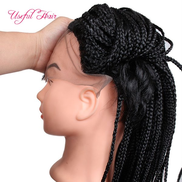 18inch micro braid wig Short Wigs Crochet Braided Box Braids african american Synthetic Lace Front Wigs Afro Box Braiding Wigs For Women