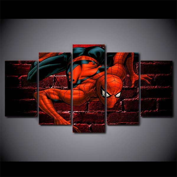 5Pcs/Set Framed HD Printed Spiderman Comics Painting Canvas Print room decor print poster picture canvas Free shipping/ny-3052