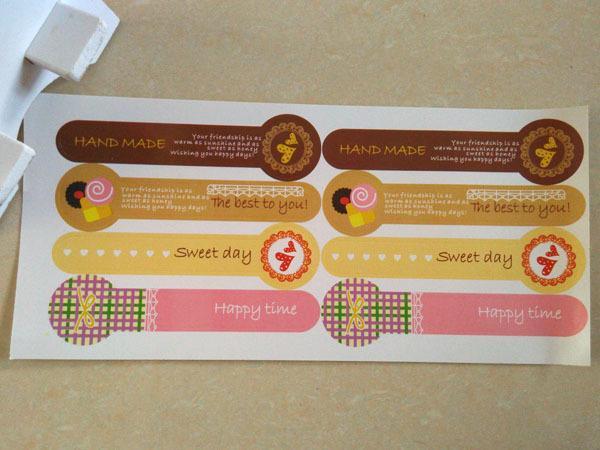 Gros-80pc long Lollipop Design FABRIQUÉ À LA MAIN bonbons boîte de gâteau d'étanchéité autocollant adhésif étiquette d'emballage bricolage scellant la décoration de fête de mariage