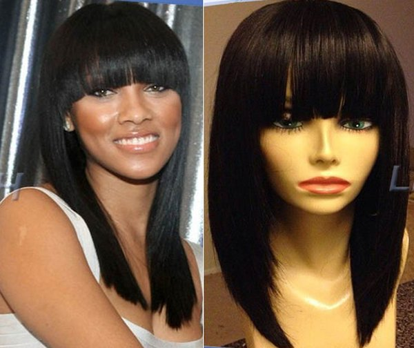 8a grade high quality 1b silky straight virgin indian human hair 150 density bangs lace front wig free shipping