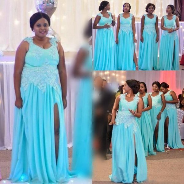 29b4a3c930 Luz azul cielo más tamaño vestidos de dama de honor de gasa apliques de  encaje lado