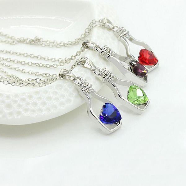 2017 Nouveau Cristal Autrichien Pendentif Coeur Colliers Dames Drift Wishing Verre Bouteille Collier Pour les Femmes De Mode Bijoux pas cher en gros