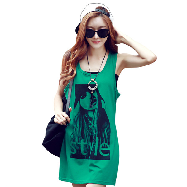 Dresses Female Xia Xiaoqing New Students Korea Sling Vest Skirt Fat mm large size loose thin skirt