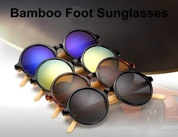10pcs/lot Newest Style Bamboo Foot Fashion Round Designers Sunglasses Resin lenses Outdoor Travel Windproof Goggle Sun Glasses Cheap